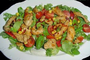 Hühnerstreifen auf Salatbeet